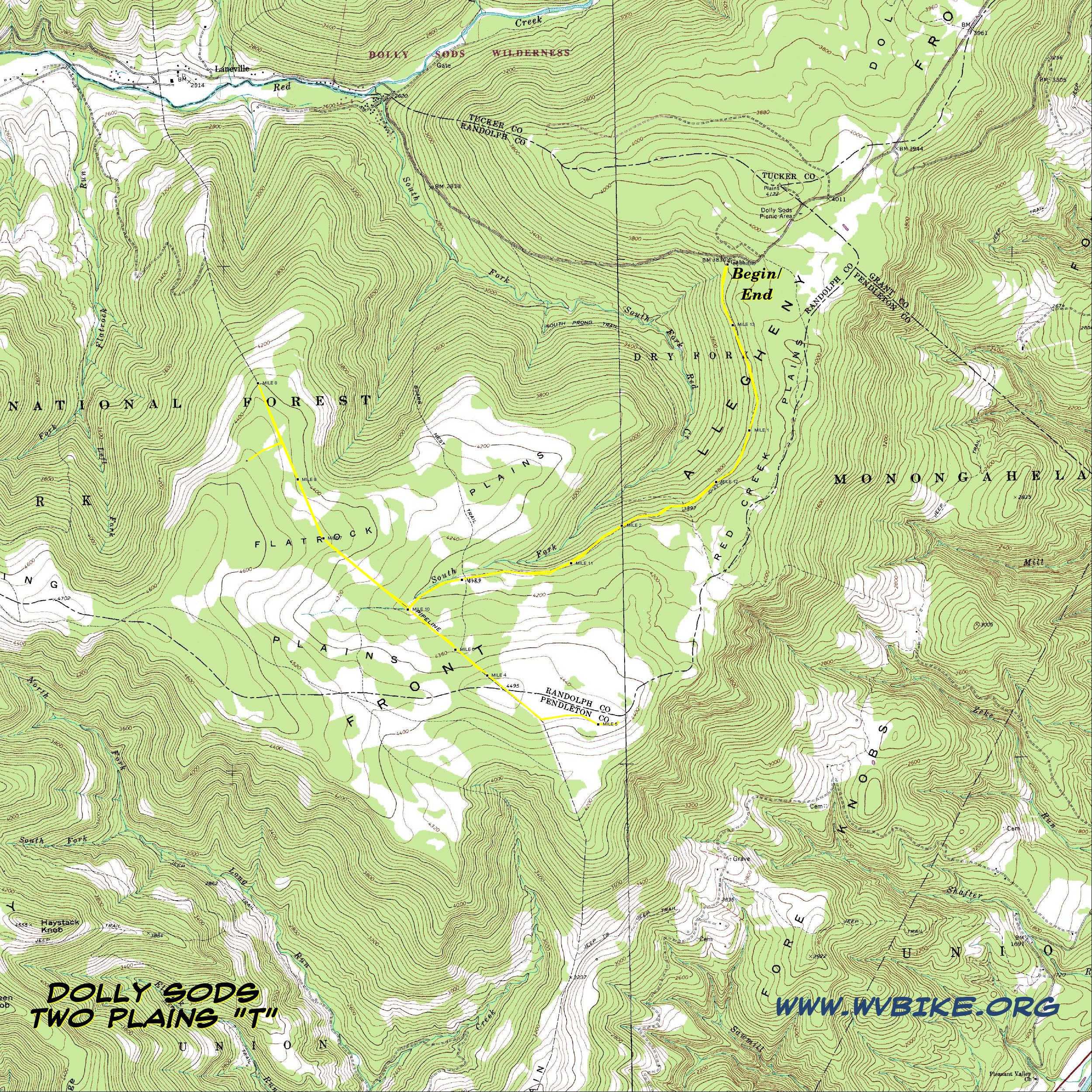 Maps and Aerial Photos of Dolly Sods Two Plains \