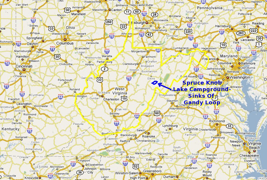 Maps And Aerial Photos Of Spruce Knob Lake Campground Sinks Of - State of west virginia map
